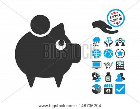 Piggy Bank pictograph with bonus pictograph collection. Vector illustration style is flat iconic bicolor symbols, blue and gray colors, white background.