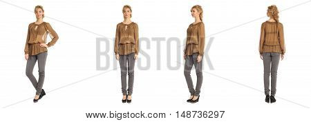 Cute Woman In Khaki Blouse Isolated On White Background