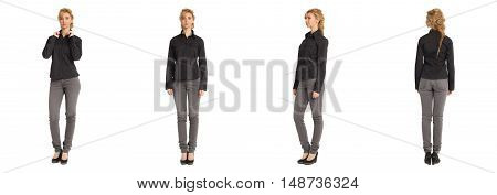 Cute Woman In Black Blouse Isolated On White Background