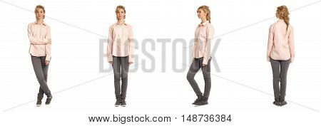 Cute Woman In Shirt Isolated On White Background