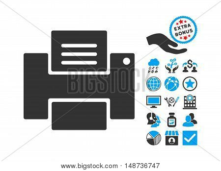 Printer pictograph with bonus images. Vector illustration style is flat iconic bicolor symbols, blue and gray colors, white background.