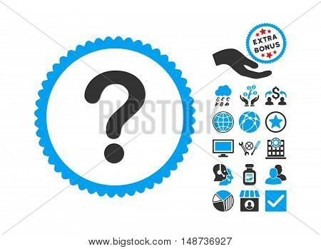 Question icon with bonus symbols. Vector illustration style is flat iconic bicolor symbols, blue and gray colors, white background.