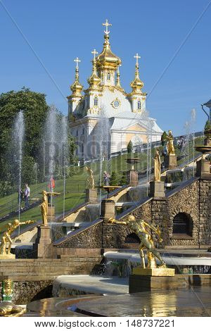 SAINT PETERSBURG, RUSSIA - JULY 03, 2015: View of the Palace Church of the apostles Peter and Paul from the Big stage. Historical landmark of the Peterhof