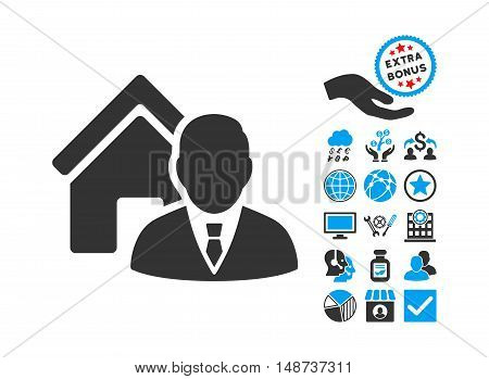 Realtor icon with bonus pictograph collection. Vector illustration style is flat iconic bicolor symbols, blue and gray colors, white background.