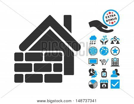 Realty Brick Wall icon with bonus icon set. Vector illustration style is flat iconic bicolor symbols, blue and gray colors, white background.
