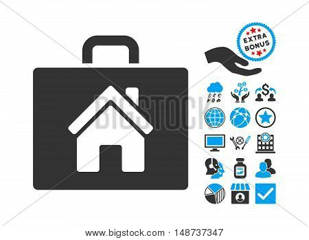 Realty Case icon with bonus icon set. Vector illustration style is flat iconic bicolor symbols, blue and gray colors, white background.