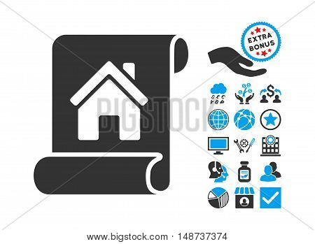 Realty Description Roll icon with bonus pictograph collection. Vector illustration style is flat iconic bicolor symbols, blue and gray colors, white background.