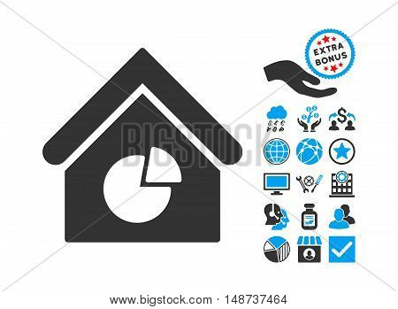 Realty Pie Chart icon with bonus pictograph collection. Vector illustration style is flat iconic bicolor symbols, blue and gray colors, white background.