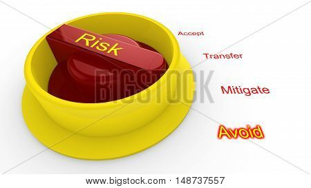 Rotary knob with the word risk in yellow turned to avoid isolated on white 3D illustration