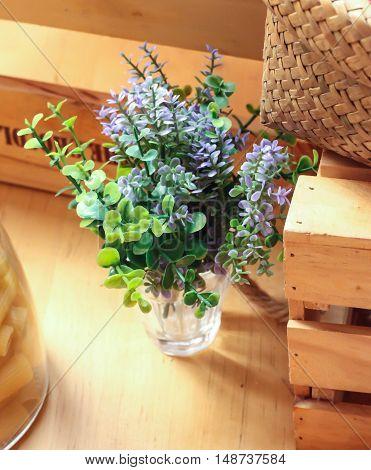 Violet Plastic flower for decoration in the resturant