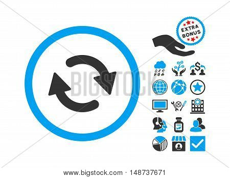Refresh icon with bonus clip art. Vector illustration style is flat iconic bicolor symbols, blue and gray colors, white background.