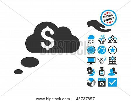 Richness Dream Clouds pictograph with bonus images. Vector illustration style is flat iconic bicolor symbols, blue and gray colors, white background.