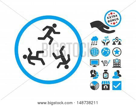 Running Men pictograph with bonus clip art. Vector illustration style is flat iconic bicolor symbols, blue and gray colors, white background.
