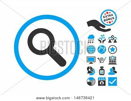 Search icon with bonus pictogram. Vector illustration style is flat iconic bicolor symbols, blue and gray colors, white background.
