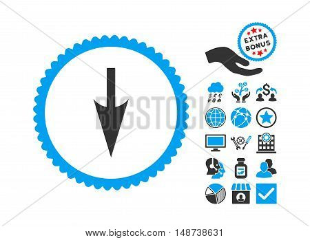 Sharp Down Arrow pictograph with bonus images. Vector illustration style is flat iconic bicolor symbols, blue and gray colors, white background.