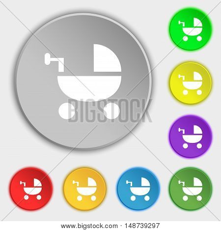 Baby Stroller Icon Sign. Symbol On Eight Flat Buttons. Vector