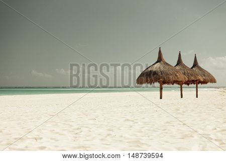 vacation, beach, sea and leisure concept - tropical beach with palapa