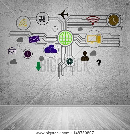 Group of colorful application icons on wall background