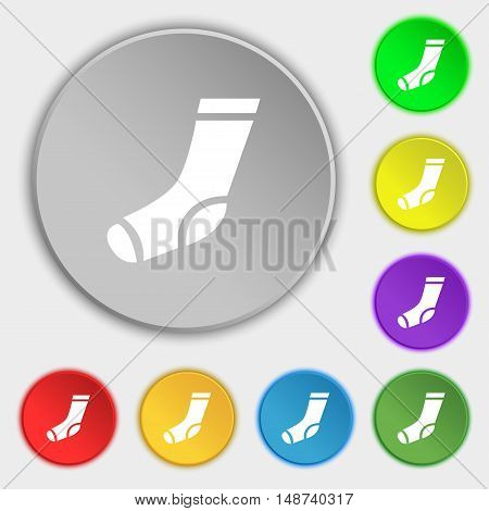 Socks Icon Sign. Symbol On Eight Flat Buttons. Vector