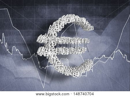 Big euro currency symbol on graphs and diagrams background, 3D rendering