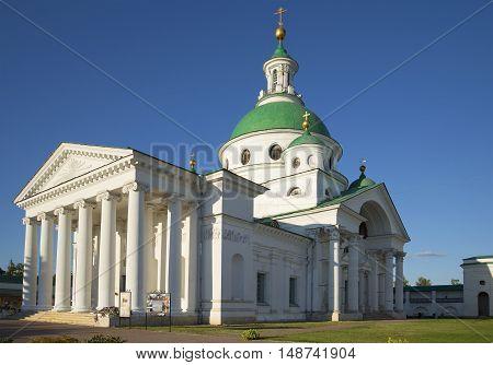 ROSTOV VELIKY, RUSSIA - AUGUST 22, 2015: Demetrius Cathedral in Spaso-Yakovlevsky monastery closeup. Religious landmark  of the Rostov Great