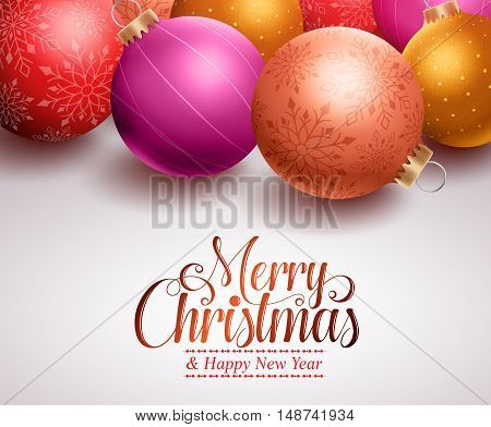Christmas background design with colorful christmas balls and space for christmas greetings. Vector illustration