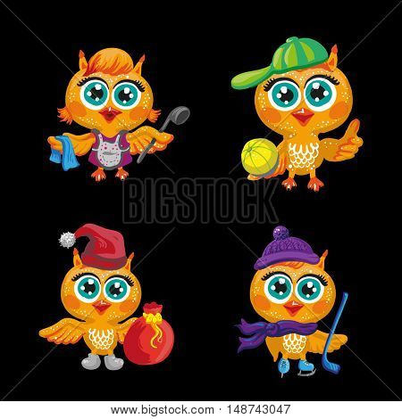 Vector set of cute owls. Cartoon characters of different professions. Make-up artist, hockey player, Santa Claus, hairdresser, athlete, housewife and other occupations. Isolated illustration on white