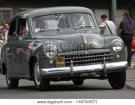 BELGRADE,SERBIA - SEPTEMBER 10, 2016: Oldtimer Fiat at the commercial race of old cars in memory of formula 1 race held on the same place in 1939 two days after the beginning of Second World War when the famous Italian driver Tazio Nuvolari won