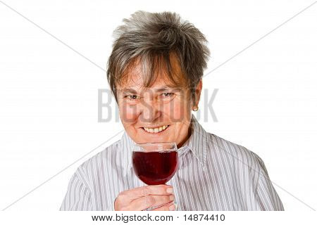 Female Senior With Glass Wine