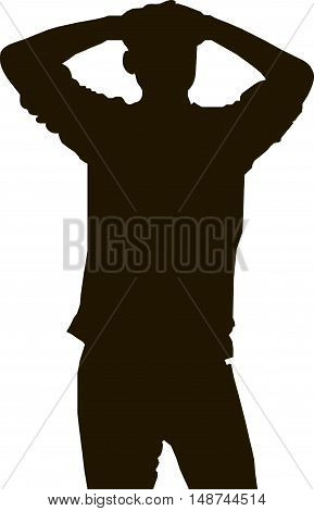 Black silhouette of a man laid with his hands behind his head, vector illustrations