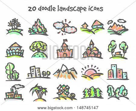 Vector doodle landscape icons set. Stock cartoon signs for design.