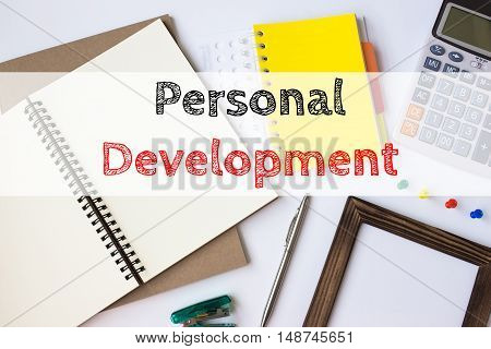 Text personal development on white paper book on table / business concept