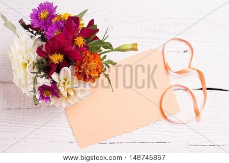 Autumn Flowers And Card For Your Text