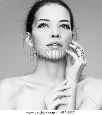 Beauty Woman Face Portrait. Beautiful Spa Model Girl With Perfect Fresh Clean Skin.