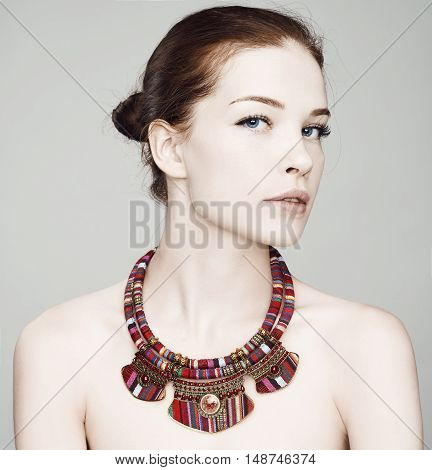 Beautiful Woman  In A Necklacet. Beautiful Spa Model Girl With Perfect Fresh  Skin. Youth And Skin C