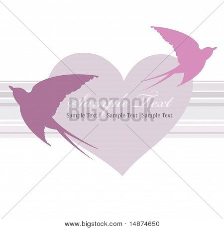 Valentines day card with heart and swallow