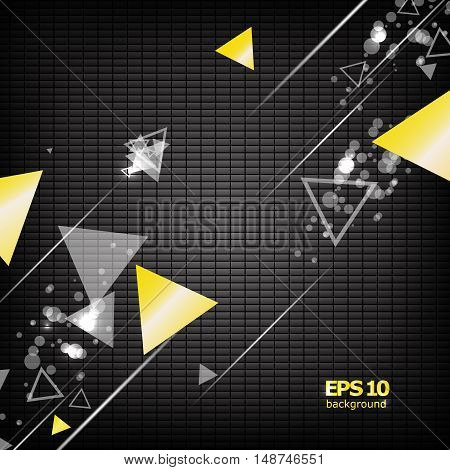 Abstract composition flying gemetric shape triangle figure group line dark chequered font screen saver business card surface backdrop light flash logo construction EPS 10 vector