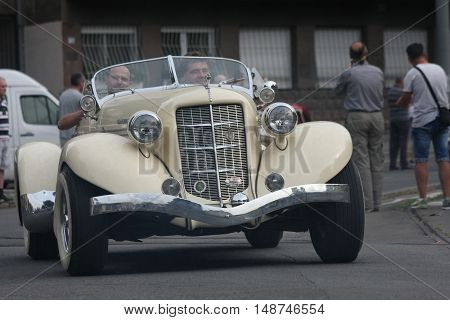BELGRADE,SERBIA - SEPTEMBER 10 ,2016: Oldtimer at the commercial race of old cars in memory of formula 1 race held on the same place in 1939 two days after the beginning of Second World War when the famous Italian driver Tazio Nuvolari won