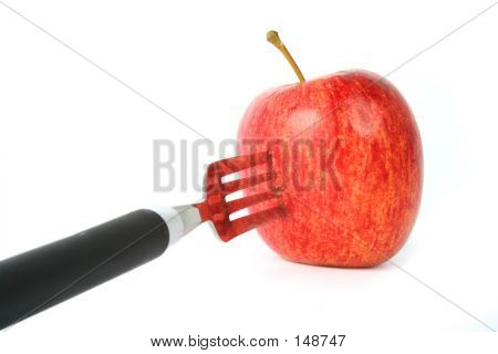 Apple On Fork - Perspective