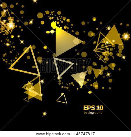 Abstract composition shiny geometric shapes flare visual golden light flying triangle radiance icon effulgence logo construction glory screen saver luster sheen EPS 10 vector