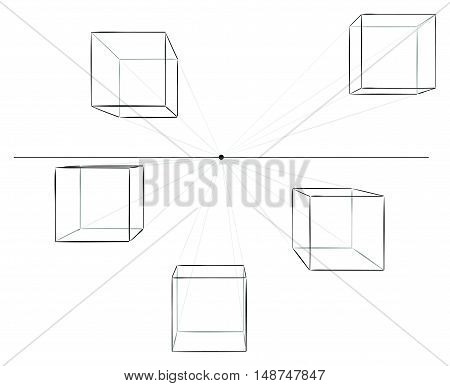 Set of five hand drawn cubes in linear perspective with one point of vanishing isolated on white