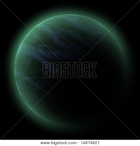 Science fiction planet illustration, computer rendered graphic