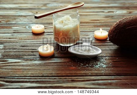 Natural scrub ingredients on wooden background