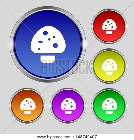 Mushroom Icon Sign. Round Symbol On Bright Colourful Buttons. Vector