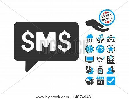 SMS Message pictograph with bonus symbols. Vector illustration style is flat iconic bicolor symbols, blue and gray colors, white background.