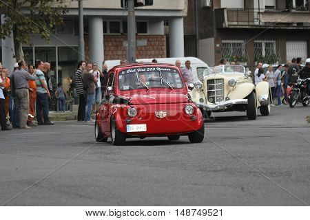 BELGRADE,SERBIA - SEPTEMBER 10, 2016:Old Fiat 500 at the commercial race of old cars in memory of formula 1 race held on the same place in 1939 two days after the beginning of Second World War when the famous Italian driver Tazio Nuvolari won