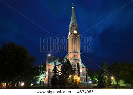 Old Lutheran Church on a summer night. Kotka, Finland