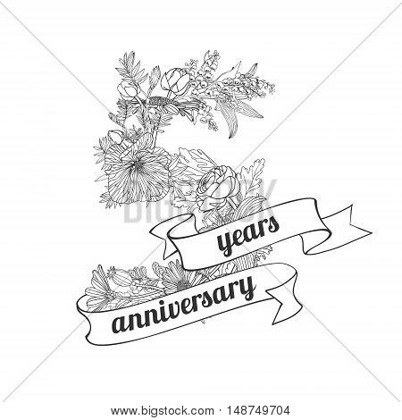 five (5) years anniversary sign of floral linear digits