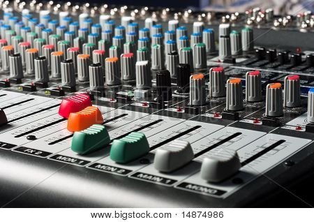 Studio Mixer With Sliders And Buttons
