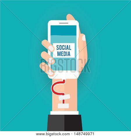 Social addict.r illustration business social media concept.